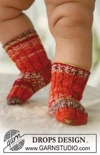 Socks for baby and children, knitted in DROPS Fabel