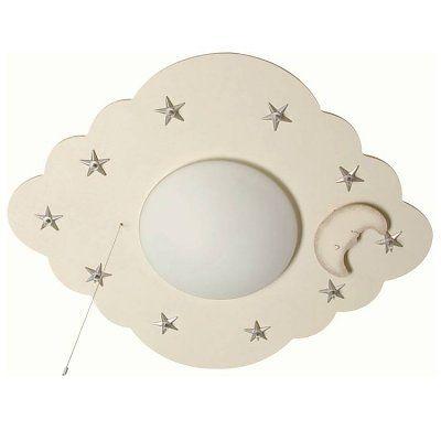 Plafondlamp Witte Wolk met zilveren Sterren