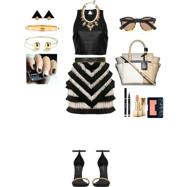 A fashion look from February 2015 featuring leather crop top, zipper mini skirt and black patent leather shoes. Browse and shop related looks.