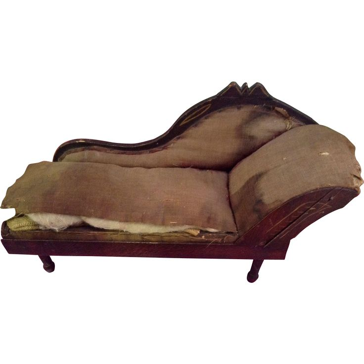 Antique wooden dolls chaise lounge