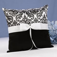 Black and White Damask Ring Bearer Pillow by Beau-coup