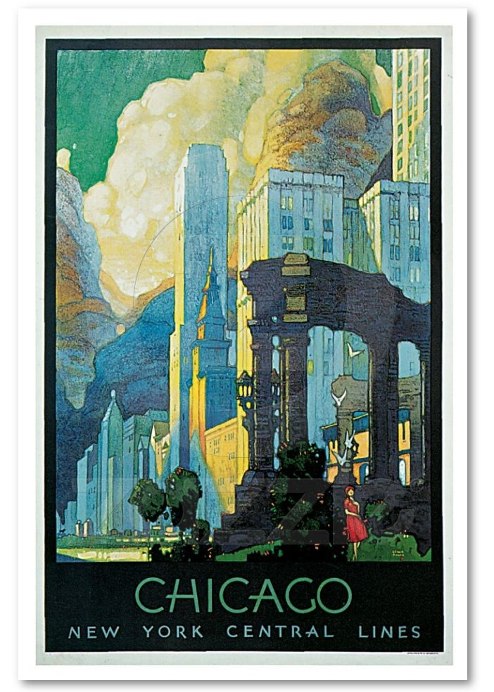 Old chicago travel poster posters usa canada pinterest for Vintage chicago posters