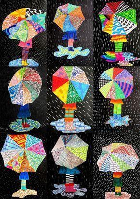 Textures on umbrella        Schule arbeitet    #auf #Regenschirm #Texturen