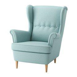 IKEA - STRANDMON, Fauteuil à oreilles, Skiftebo turquoise clair, , Vous pouvez vraiment vous détendre, confortablement assis dans ce fauteuil à haut dossier qui apporte encore plus de soutien à la nuque.Garantie 10 ans. Détails des conditions dans le livret Garantie.
