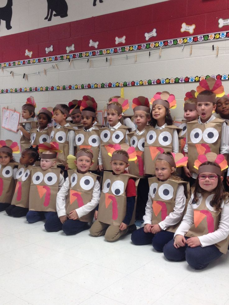 Turkey costumes! Paper bags and construction paper make great costumes for kids 6 and under.