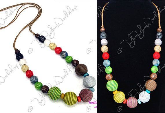 This Necklace comes with a great deal of freshness and vigor, beaded with 5 Thread Balls of 22 mm in diameter and 20 Wood Beads of various sizes and shapes.