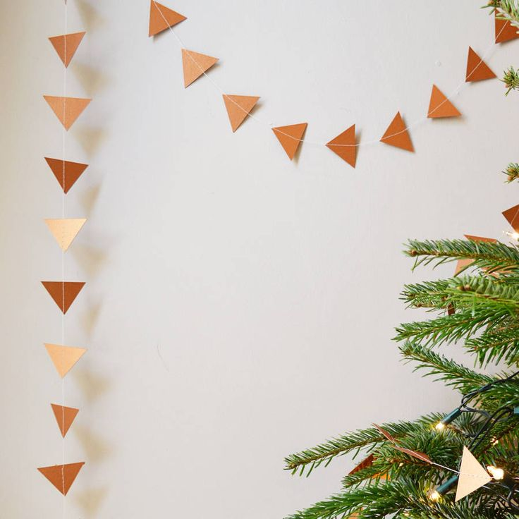christmas garland metallic copper geometric triangles by funky frills uk | notonthehighstreet.com