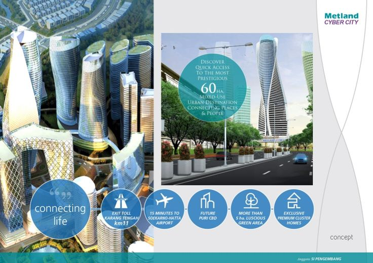 -Metland Cyber City- Metland Cyber City, sebuah Futuristic development di barat Jakarta yang berdiri diatas lahan 60Ha akan memiliki akses langsung Toll Interchange Jakarta – Tangerang Km-11.