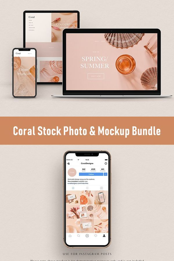 Coral Stock Photo Mockup Bundle Business Card Size Stationery Design Stock Photos