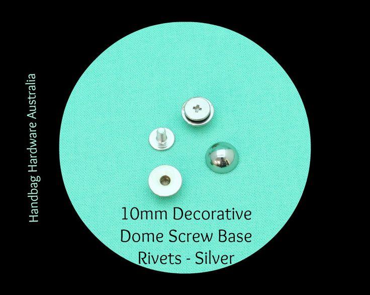 10mm Mushroom Dome Decorative Rivets (Screw base) -  Hand Bag Hardware Australia