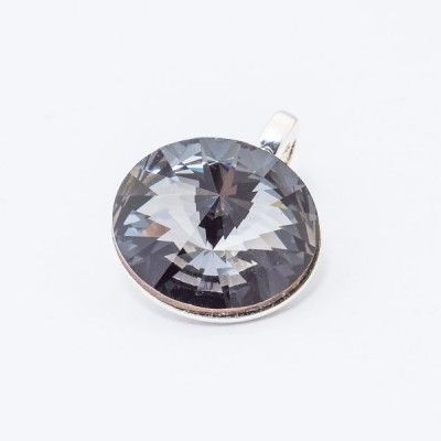 Silver plated Swarovski Rivoli Pendant 12mm Silver Night  Dimensions: length: 1,7cm stone size: 12mm Weight ~ 1,40g ( 1 piece ) Metal : silver plated brass Stones: Swarovski Elements 1122 12mm Colour: Silver Night 1 package = 1 piece Price 9.40 PLN(about 2.5 EUR)