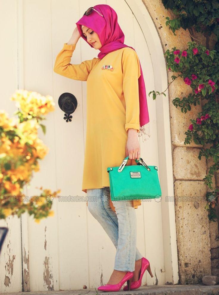 Sarı tunik Gamze Polat  #tesettür #hijab