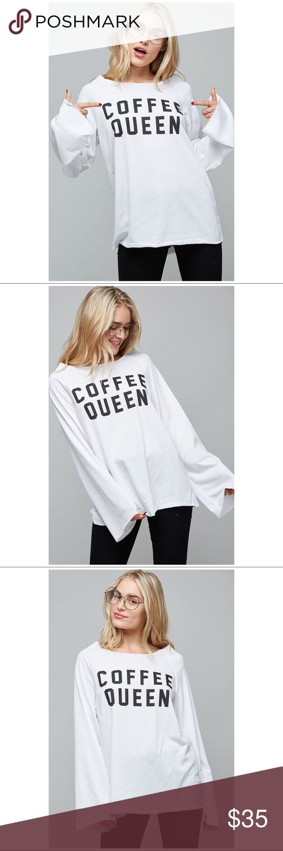 ☕️ Coffee Queen French Terry Long Sleeve Top Pre-Order will ship in end of Oct. A loose-fit top featuring a raw-cut edge neck and hem lines, graphic and a long bell sleeve. This top is made with a medium weight french terry fabric that is very soft and drapes beautifully. Tops Tees - Long Sleeve