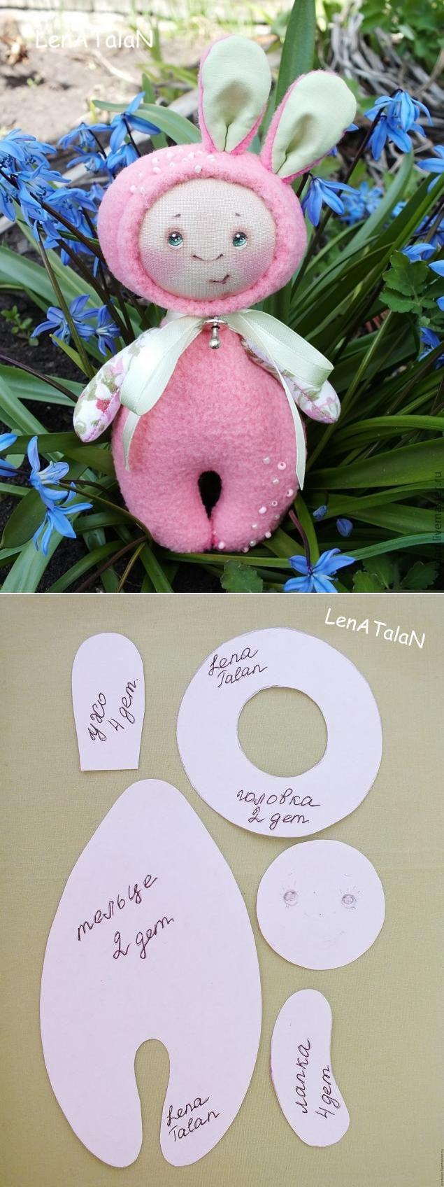 Cute Bunny Soft Toy: free pattern + tutorial / Шьем забавную зайку игрушку, выкройка