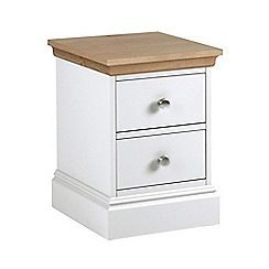 Debenhams - Oak and white 'Oxford' narrow bedside cabinet with 2 drawers