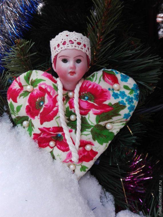 Купить Русская красавица - ярко-красный, павловопосадский платок, кукла ручной работы, платок павловопосадский