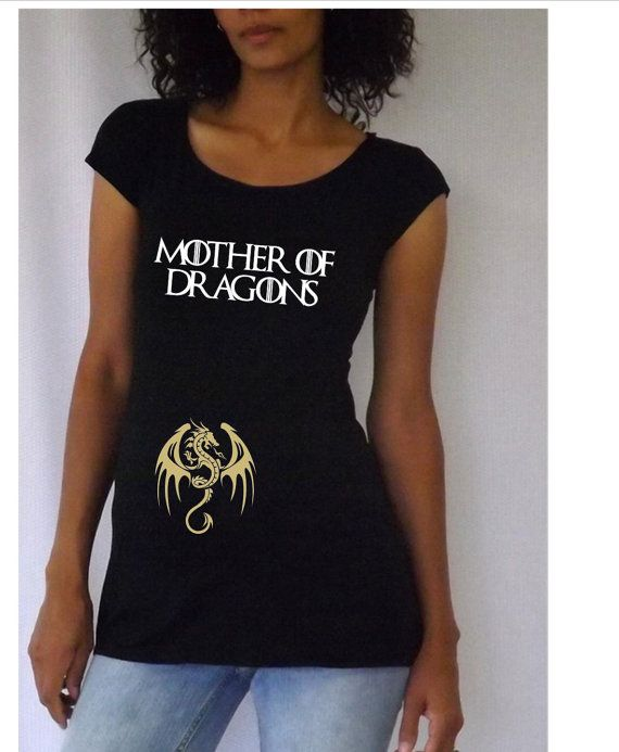 "Maternity Personalized ""Mother of Dragons"" Maternity Shirt- Black VA017"