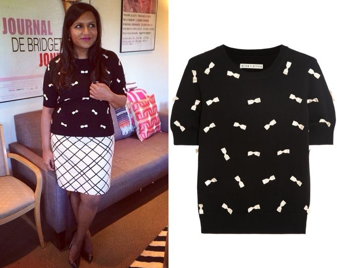 Mindy Kaling wears this black and white bow detail sweater, Instagram, July 9th 2014. Alice + Olivia Bow Embellished Short Sleeve Sweater - ...
