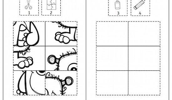 Monster, Halloween, Klebepuzzle, Puzzle, Feinmotorik, Wahrnehmung, Vorschule, Grundschule, Schule, Förderschule, AFS-Methode, Stephany Koujou