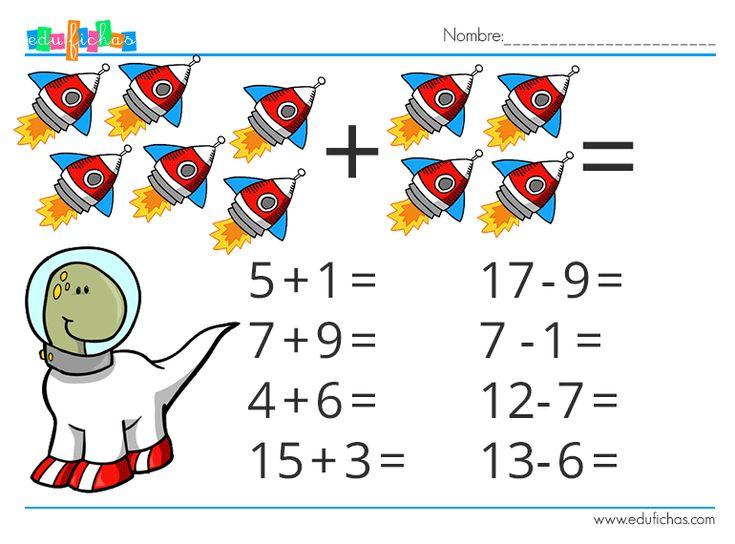 http://www.edufichas.com/actividades/matematicas/sumas-restas-espacio/  Cartillas de sumas y restas gratis.  #sheets #worksheets #mathematics #matematicas #niños #infantil #preescolar #prekinder