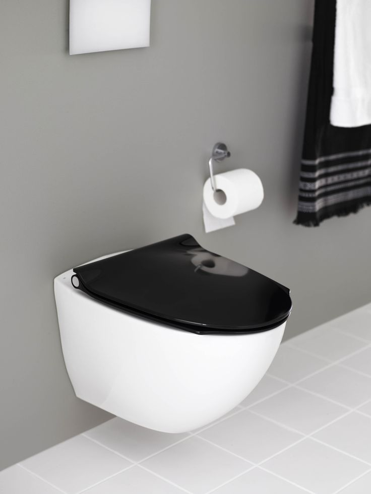 white toilet with black seat.  If Sign Art WC unit with Pressalit toilet seat in black bath Pinterest Toilet and Bath