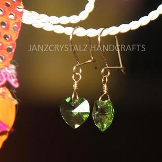 JanzCrystalz Handcrafts: Swarovski Girly Heart Earrings - Peridot Heart
