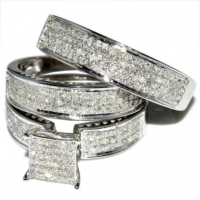 Superior His And Her Trio Wedding Rings Set 1ct W Diamonds 10K White Gold Princess  Cutu2026