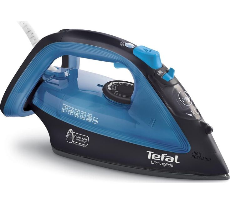 TEFAL  Ultraglide FV4043 Steam Iron - Black & Blue +  Kettle & Iron Descaler