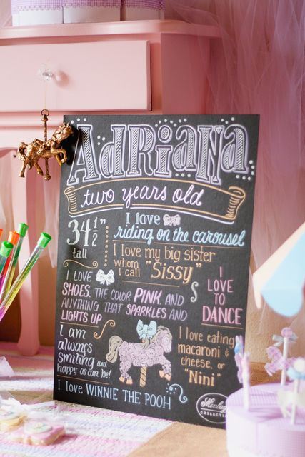 Chalkboard sign to mark milestones, carousel party by @#FancifulEvents