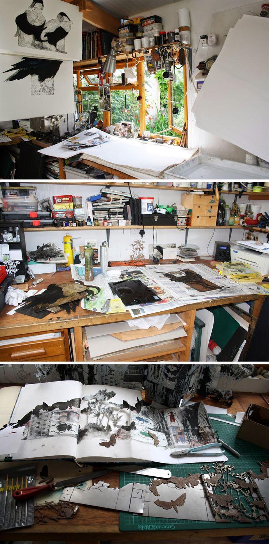 Printmaker Sue Brown's studio       http://suebrownprintmaker.blogspot.ca/2014_07_01_archive.html