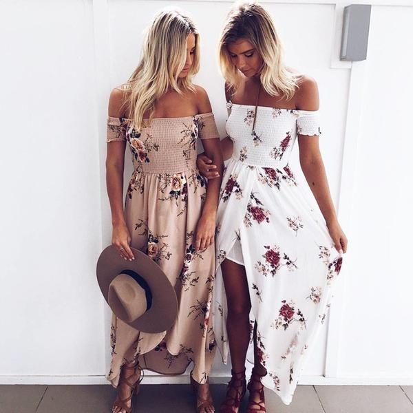 Floral Print Off Shoulder Summer Maxi Dresses
