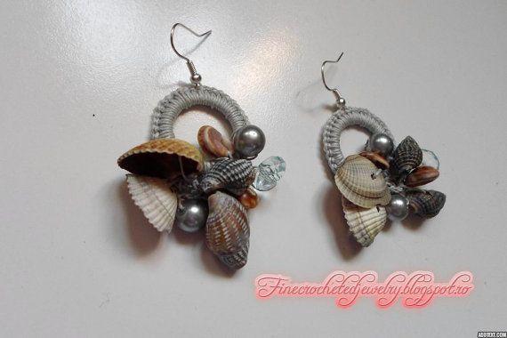 Unique Crochet Seashell Earrings With by FineCrochetedJewelry, $14.00