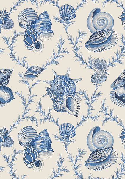 Botanically accurate shells have been painted with an expert eye in Sumba Shell, an ode to elegant island living in both #wallpaper and printed #fabric. Featured here in blue on natural from the Biscayne collection. Thibaut