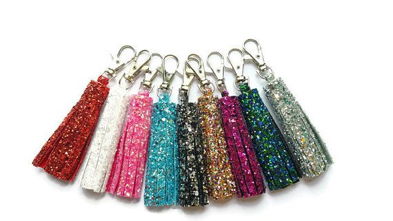 Glitter Key Ring Handbag Charm Tassel - FREE UK SHIPPING