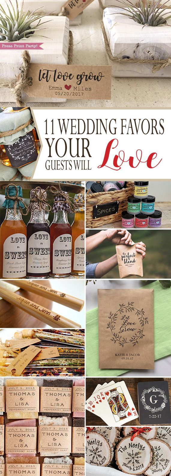 11 Wedding Favors Your Guests Will Love - By Press Print Party!  Wedding favors for guests, Unique ideas and rustic. For winter, spring, fall or summer weddings. Useful favors. Elegant, the best creative favors. - Honey, succulents, coffee, playing cards, tea, chopsticks, soaps, pancake syrup, ornament, seeds.