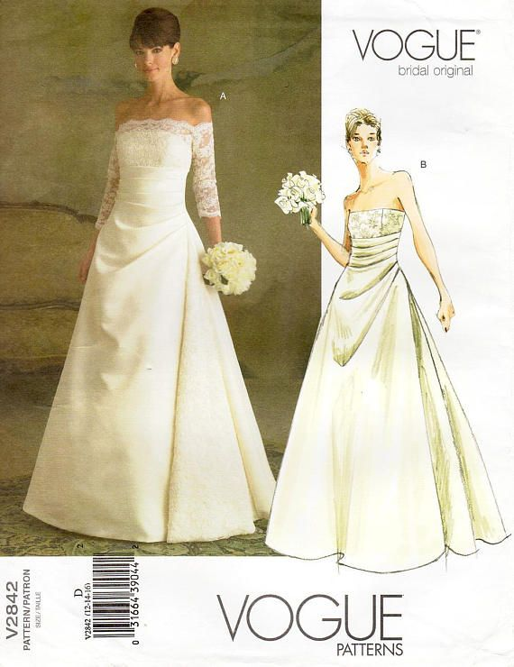 Sz 12/14/16  Vogue Wedding Dress Pattern V2842  Misses'