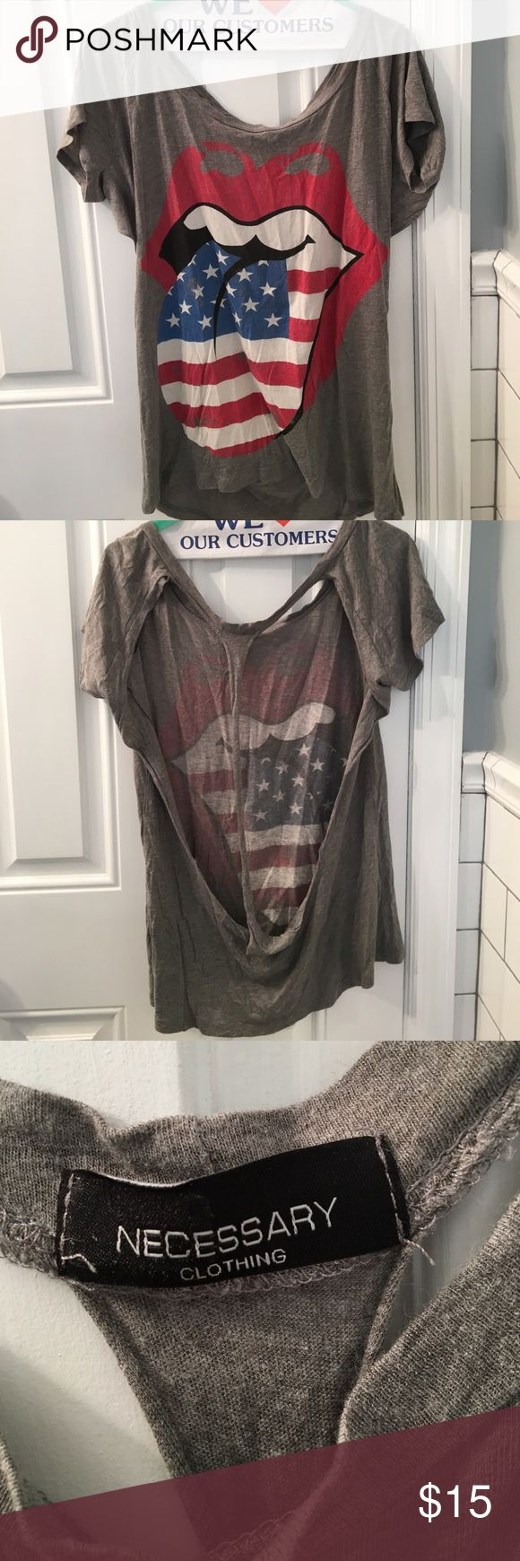 Necessary clothing short sleeve American flag rolling stone tongue short sleeve shirt. Open back-- bralette or bandeau can be worn under. Also a great bathing suit coverup with shorts. Soft and comfy shirt. Necessary Clothing Tops Tees - Short Sleeve