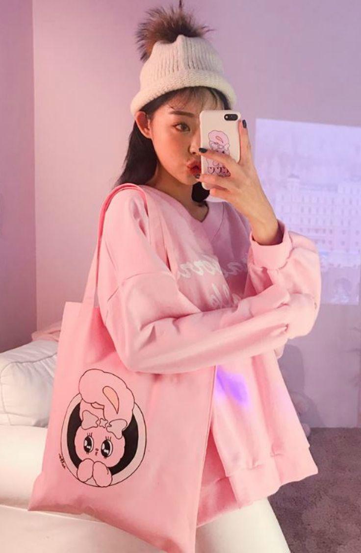 Chuu Bunny Print Cotton Shopper Bag Shopperbag Totebag Chuu Bunny Print Shopper Bag Pink Girl