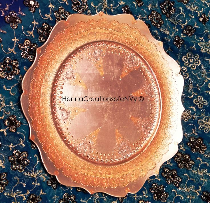 Henna Art Diwali / Candle Plate in silver blue with gem stones.