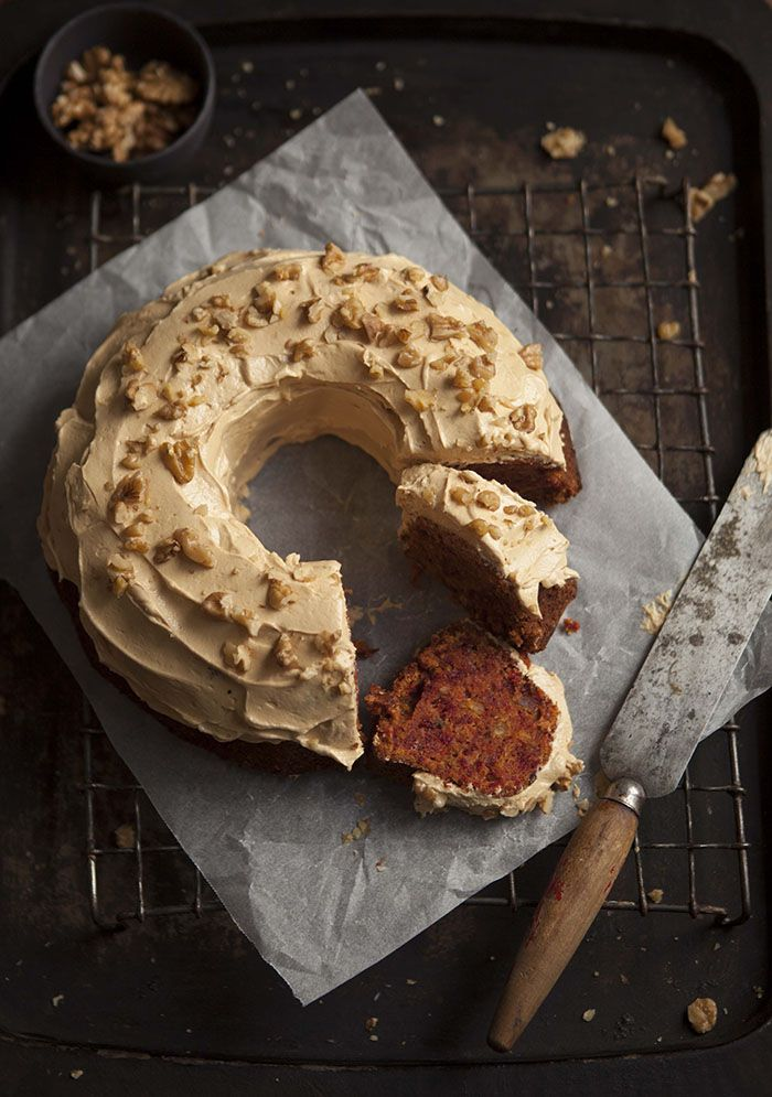 Carrot and beetroot cake with caramel cream cheese frosting on DrizzleandDip.com | photography - Samantha Linsell