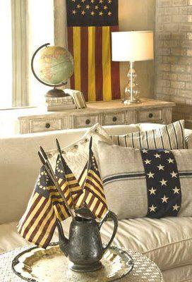 Decor Ideas, American Flags, Curioussofa Com Blog, Patriots Decor, American Decor, 4Th Of July, America Decor, Red White, Americana Display