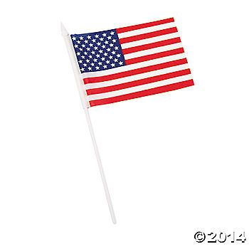 Small American Flags on Plastic Sticks (cheaper at Party City)