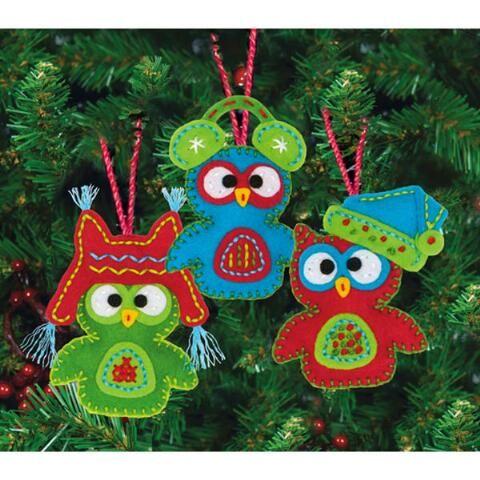 Whimsical Owls Felt Ornaments - Herrchners