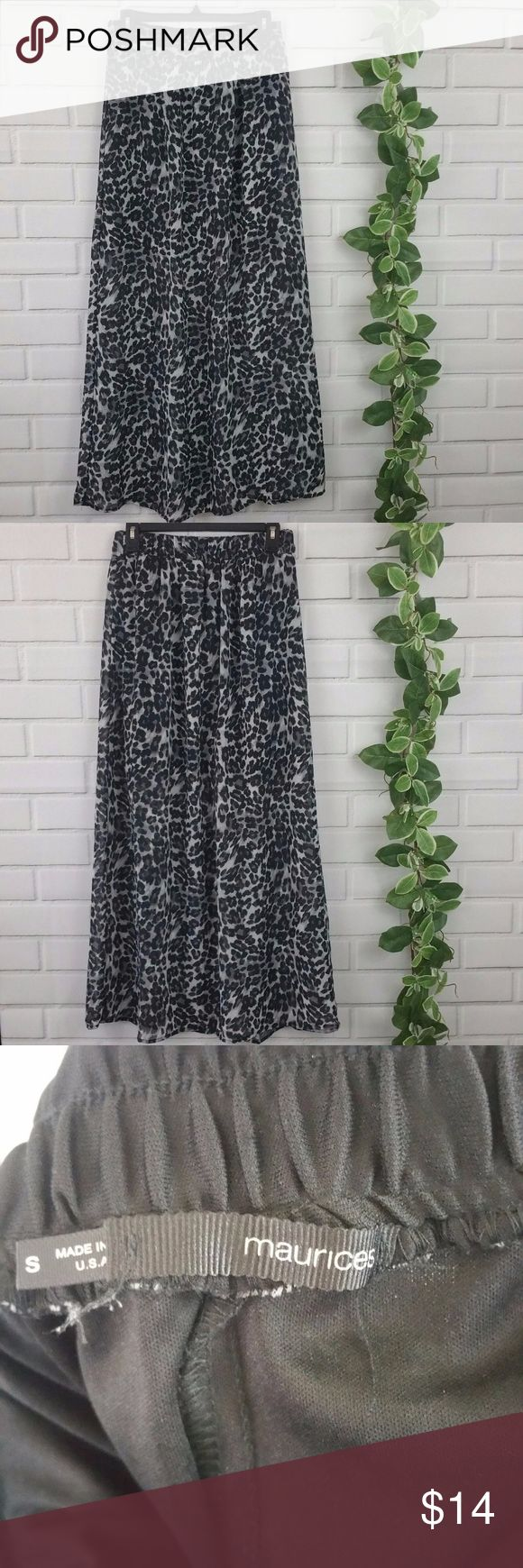 "Maurices Animal Leopard Gray Black Maxi Skirt Maurices long gray and black leopard print maxi skirt. Back half of waistband is stretchy elastic, front half is not. Size small  waist- 14"" across, 28"" around length- 40.5"" Maurices Skirts Maxi"