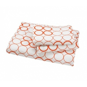 $119 Circles Persimmon Sheet Set by Dwellstudio.  From Dwellstudio's pre...: Persimmon Circles, Dwellstudio Pre, Dwellstudio Persimmon, Duvet Sets, Circles Beds, 119 Circles, Dwellstudio Circles, Circles Persimmon, Bath Products