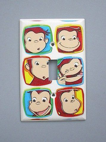 Curious George Monkey Single Switch Plate switchplate . $9.49