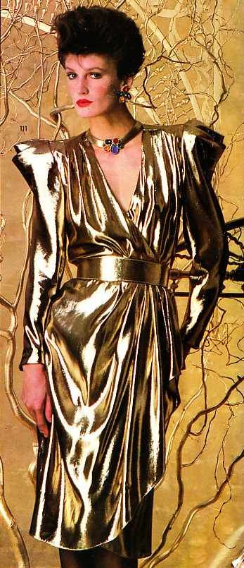 1984 A.J. Bari - I bought sooooooooooooo many A.J. Bari dresses - Loved the designs, fabric, fit, everything about themI spent a small fortune on them but damn I looked good!  Irony - my son is named AJ :-)  P.S.  I sold ALL of them on E-Bay a year or so ago and made money on them - they sold like crazy!