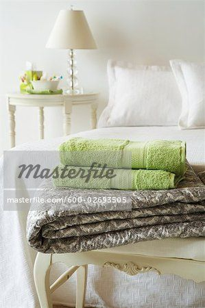 Stock photo of Linens on End of Bed; Premium Royalty-Free, 600-02693505 © Jodi Pudge / Masterfile. All rights reserved.
