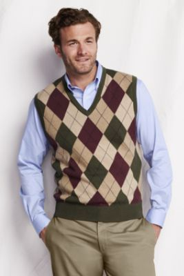 Men's Fine Gauge Argyle V-neck Sweater Vest from Lands' End, $54. Also in blue/white.