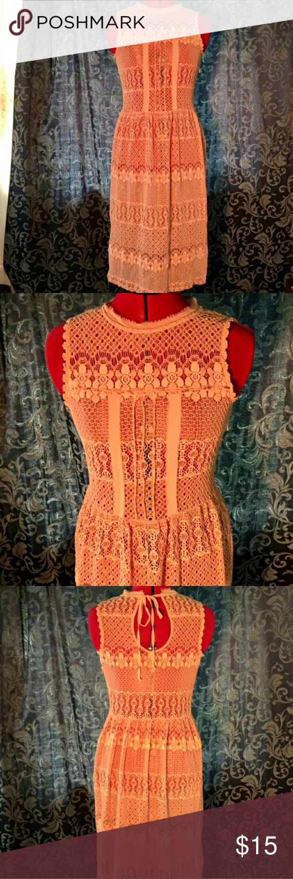 "✨SALE✨ Orange lace dress This fun summer cover up dress is perfect over a baithing suit or tank top or any out fit that lacks a little texture or color. Fits: bust- 33""-38"" waist- 25""-30"" Dresses"